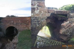The bridge over Brow Well before and after. Pictures: Geograph/ Dumfries and Galloway Council.