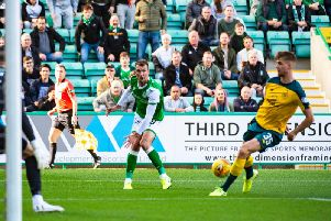 Kristoffer Ajer scores an own goal as Hibs go ahead.