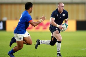 It may not have been a try, but Stuart Hogg's whopper of a drop goal was a highlight of Scotland's 34-0 win over Samoa in Kobe. Picture: Getty Images