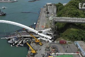 The collapsed bridge. Picture: AFP/Getty