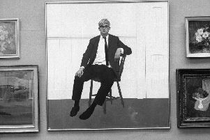 David Hockney, an example of how skill in drawing can make a great artist, depicted in a painting at the 1964 Royal Glasgow Institute annual exhibition