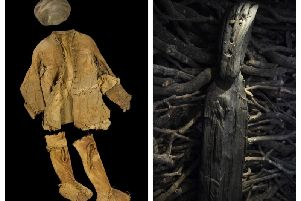 The clothes of Arnish Moor Man who were recovered from a peat bog on Lewis and helped to unravel an island murder (left) and the 2,500-year-old Ballachulish Goddess, which may have been an ancient good luck charm for sailors. PICS: National Museum of Scotland.