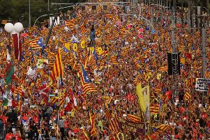 Pro-Independence demonstrators fill-up La Diagonal, one Barcelona's main avenues, during the Catalan National Day in Barcelona in 2018. Picture: Emilio Morenatti/AP