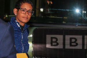 Naga Munchetty arrives at the BBC