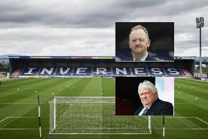 A general view of Inverness Caledonian Thistle's stadium and, inset, Scot Gardiner (top) and Graham Rae