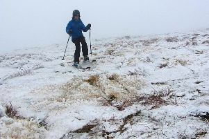 """Helen Rennie skiing in """"shrubby"""" conditions on Cairn Gorm,  2 Oct 2019"""