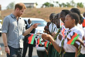 It's not surprising that Prince Harry, seen visiting Nalikule College of Education in Malawi, chose to speak out about climate change during his visit to southern Africa (Picture: Dominic Lipinski/Pool/Getty)