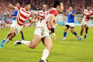 Japan wing Kenki Fukuoka scorches in for his side's third try against Samoa. Picture: Getty Images