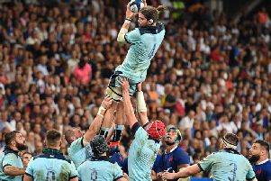 Ben Toolis takes a lineout during Scotland's opening World Cup warm-up Test loss to France in Nice in August. Picture: Getty Images