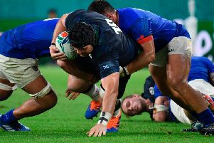 After making his World Cup debut against Samoa, tighthead Zander Fagerson is up for going three in a row if selected to feature against both Russia and Japan. Picture: Getty Images