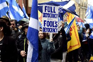 All Under One Banner Independence March - Holyrood to Meadows on Saturday. Picture: Lisa Ferguson
