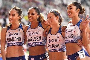 From left to right, British quartet Emily Diamond, Laviai Nielsen, Zoey Clark and Jodie Williams were pleased with a time of 3:23.02. Picture: AFP/Getty