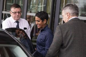 Naga Munchetty leaves MediaCityUK in Salford after hosting BBC Breakfast for the first time since the start of the impartiality row. Picture: PA