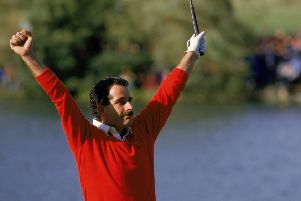 Sam Torrance celebrates after holing the winning putt for Europe on 18th at The Belfry in the 1985 Ryder Cup. Picture: Simon Bruty/Allsport