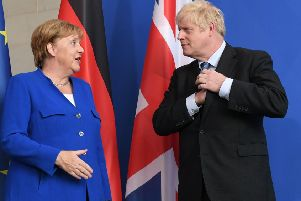 Boris Johnson appears to have decided to blame Angela Merkel and the EU for a no-deal Brexit (Picture: Stefan Rousseau/PA Wire)