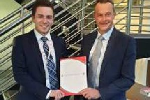 From left: Lewis Campbell, managing director at Target Healthcare Group, with Grant Bett, relationship director at HSBC UK. Picture: Contributed