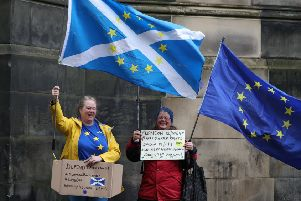 Remain supporters at a Brexit court hearing at Court of Session in Edinburgh on October 9