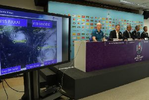 Rugby World Cup tournament chiefs demonstrate to the media the potential impact of typhoon Hagibis as they announce match cancellations. PICTURE: David Rogers/Getty Images