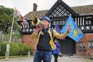 An anti-Brexit protester outside Thornton Manor