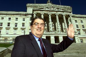 Former SDLP leader John Hume in front of the Stormont building near Belfast in 2002. Picture: PA