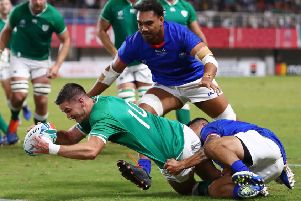 Ireland's Johnny Sexton scores his team's fourth try. Pic: Michael Steele/Getty Images
