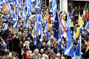 Thousands of people attended the All Under One Banner pro-Scottish independence march through the streets of Edinburgh. picture: Lisa Ferguson