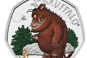 The Royal Mint of The Gruffalo, who is being celebrated on a new commemorative 50p coin, depicting the beast's first meeting with Mouse in the woods. Picture: PA