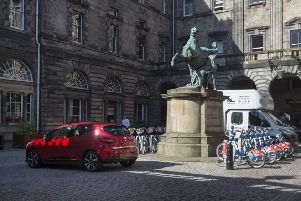 Cars parked in Edinburgh City Chambers quadrangle.  (Picture: Neil Hanna)