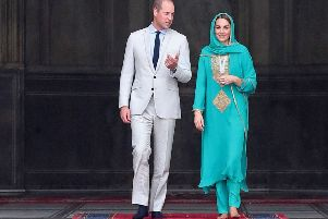 Prince William, Duke of Cambridge and Catherine, Duchess of Cambridge visit the Badshahi Mosque within the Walled City during day four of their royal tour of Pakistan.  (Photo by Chris Jackson/Getty Images)