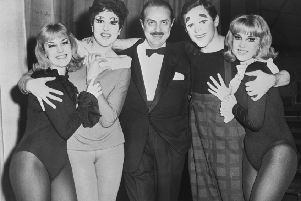 Anna Quayle, second from left, at the opening night of the musical Stop the World ' I Want to Get Off in 1961, with, from left, Jennifer Baker, producer David Merrick, Anthony Newley and Susan Baker  (Picture: Keystone/Hulton Archive/Getty Images)