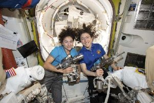 Astronauts Jessica Meir, left, and Christina Koch. Picture PA