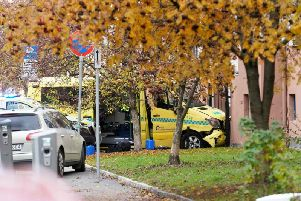 Norwegian broadcaster NRK said several people were struck by the ambulance, including a baby in a pushchair who was taken to hospital. Picture: AFP