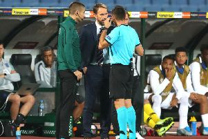 Ivan Bebek speaking with England boss Gareth Southgate during the recent 2020 Euro qualifiers international.