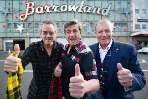 From left, Stuart Wood, Les McKeown and the late Alan Longmuir outside Glasgow Barrowland in 2015.