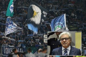 Lazio fans and, inset, the club's security chief Nicolo d'Angelo