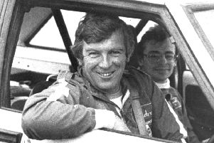Scottish rally driver Andrew Cowan in his Chrysler Sunbeam during the Bank of Scotland rally in April 1978