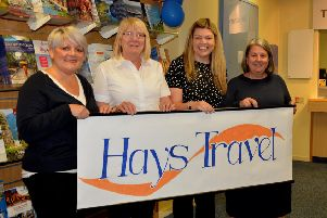 The Hays Travel team in Galashiels, from left: Sarah Paterson, Edith Bertham, manageress Amy Turner and Carmen Foster.
