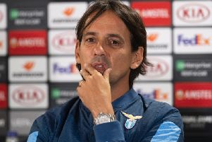 Lazio coach Simone Inzaghi during his press conference at Celtic Park. Picture: Craig Foy/SNS