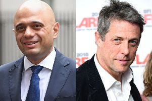 Chancellor Sajid Javid (left) and Hugh Grant are at odds