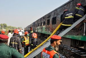 The burnt-out train. Picture: AFP/Getty