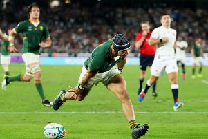 Cheslin Kolbe of South Africa celebrates after scoring his team's second try