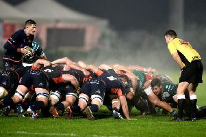 Scrum-half Henry Pyrgos gets ready to put the ball in at an Edinburgh scrum. Picture: Elena Barbini/INPHO/Shutterstock