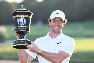Rory McIlroy lifts aloft the WGC-HSBC Champions trophy after his victory at Sheshan International Golf Club in Shanghai. Picture: Getty Images