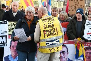Clara Ponsati at the Glasgow protes 'Free All Catalan Political Prisoners'. Picture: John Devlin