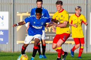Dapo Mebude of Rangers Colts in action against Partick Thistle in the Glasgow Cup.Picture: Bruce White/SNS