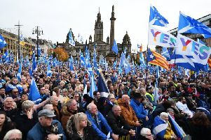 Pro-independence supporters gather in Glasgow as the SNP steps demands for an IndyRef2. Picture: John Devlin