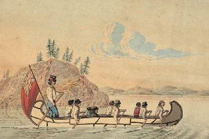 Hudson's Bay Company officials  pictured in an express canoe crossing a lake in the early 19th Century. Isobel Gunn, from Tankerness, Orkney, posed as a man to gain employment with the firm. PIC: Creative Commons.