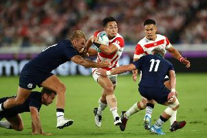 The Japan-Scotland game went ahead in Yokohama after concerns about Typhoon Hagibis. Picture: Stu Forster/Getty Images