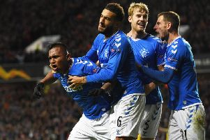 Rangers striker Alfredo Morelos celebrates after giving Rangers the lead. Picture: SNS