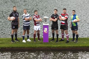 The Super 6 captains, from left, Pete McCallum (Ayrshire Bulls), Iain Wilson (Heriot's), Lee Millar (Watsonians), Craig Jackson (Southern Knights), Reyner Kennedy (Stirling County) and Chris Laidlaw  (Boroughmuir Bears) launch the new competition. Picture: SNS/SRU.